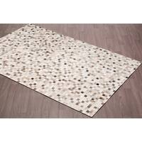 Hand-stitched Cow Hide Leather Rustic Mosaic Grey Rug - 5'x 8'