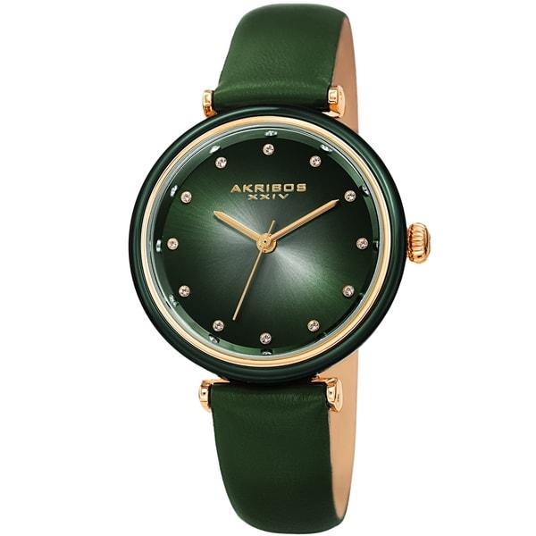 Akribos XXIV Ladies Swarovski Crystal Radiant Green Leather Strap Watch