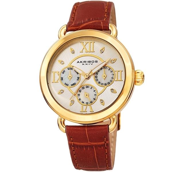 Akribos XXIV Ladies Date Swarovski Crystal Vintage Style Brown Leather Strap Watch