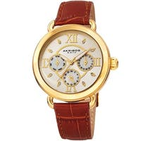 Akribos XXIV Ladies Date Swarovski Crystal Vintage Style Brown Leather Strap Watch