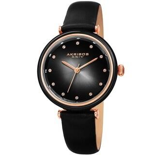 Akribos XXIV Ladies Swarovski Crystal Radiant Black Leather Strap Watch