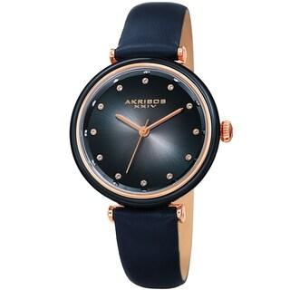 Akribos XXIV Ladies Swarovski Crystal Radiant Blue Leather Strap Watch