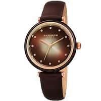 Akribos XXIV Ladies Swarovski Crystal Radiant Brown Leather Strap Watch