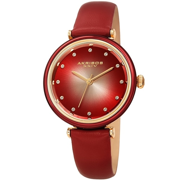 Akribos XXIV Ladies Swarovski Swarovski Crystal Radiant Red Leather Strap Watch. Opens flyout.