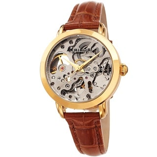 Akribos XXIV Ladies Automatic Skeletal Brown Leather Strap Watch with FREE Bangle