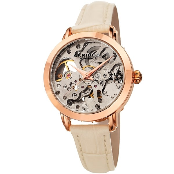 Akribos XXIV Ladies Automatic Skeletal White Leather Strap Watch. Opens flyout.
