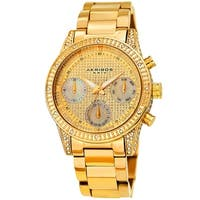 Akribos XXIV Ladies Calendar Date Diamond Crystal Gold-tone Bracelet Watch with FREE Bangle