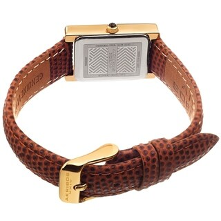 Akribos XXIV Ladies Gold Rectangular Classy Tan Leather Strap Watch