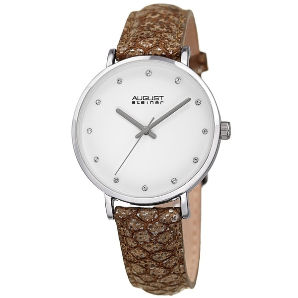 August Steiner Ladies Swarovski Crystal Lizard Patterned Brown Leather Strap Watch. Opens flyout.