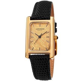 Akribos XXIV Ladies Gold Rectangular Classy Black Leather Strap Watch with FREE Bangle