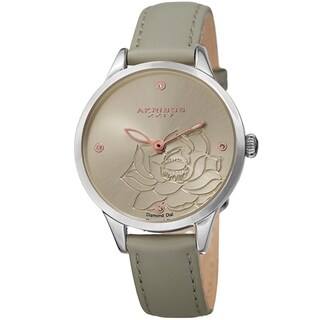 Akribos XXIV Ladies Diamond Floral Grey Leather Strap Watch