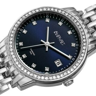 August Steiner Ladies Sparkling Diamond Crystal Bracelet Watch