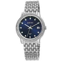 August Steiner Ladies Sparkling Diamond Crystal Silver-tone Bracelet Watch