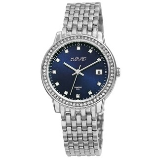 August Steiner Ladies Sparkling Diamond Crystal Silver-tone Bracelet Watch with FREE Bangle