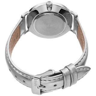 August Steiner Ladies Classic Quartz Silver-tone Leather Strap Watch with FREE Bangle
