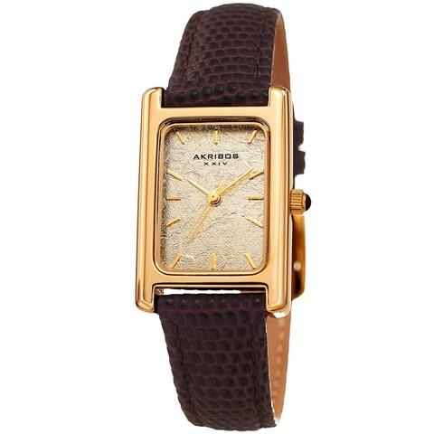 Akribos XXIV Ladies Gold Rectangular Classy Brown Leather Strap Watch