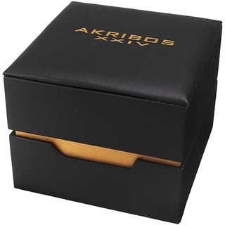 Akribos XXIV Ladies Gold Rectangular Classy Brown Leather Strap Watch