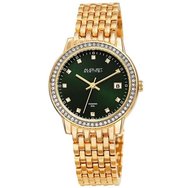 August Steiner Ladies Sparkling Diamond Crystal Gold-tone Bracelet Watch
