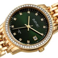 August Steiner Ladies Sparkling Diamond Crystal Gold-tone Bracelet Watch