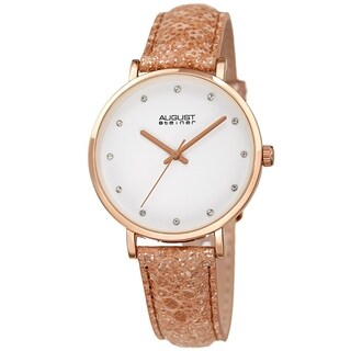 August Steiner Ladies Swarovski Crystal Lizard Patterned Rose Leather Strap Watch with FREE Bangle
