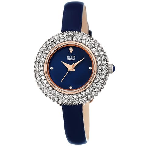 Burgi Ladies Diamond Swarovski Crystal Luxury Blue Leather Strap Watch