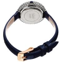 Burgi Ladies Diamond Swarovski Crystal Luxury Blue Leather Strap Watch