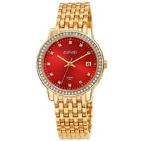 August Steiner Ladies Sparkling Diamond Crystal Gold-tone Bracelet Watch with FREE Bangle