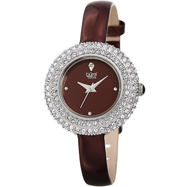 Burgi Ladies Diamond Swarovski Crystal Luxury Burgundy Leather Strap Watch. Opens flyout.