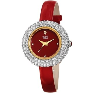 Burgi Ladies Diamond Swarovski Crystal Luxury Red Leather Strap Watch