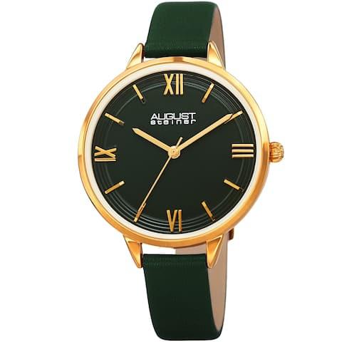 August Steiner Ladies Quartz Green Leather Thin Strap