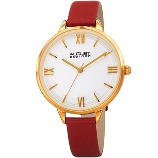 August Steiner Ladies Quartz Red Leather Thin Strap