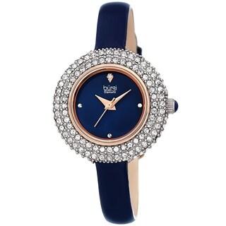 Burgi Ladies Diamond Swarovski Crystal Luxury Leather Strap Watch