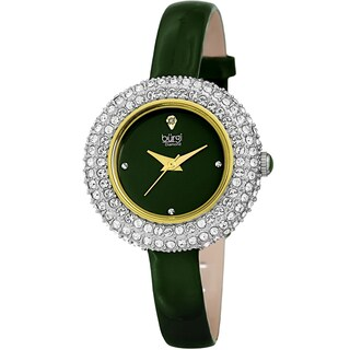 Burgi Ladies Diamond Swarovski Crystal Luxury Leather Strap Watch with FREE Bangle