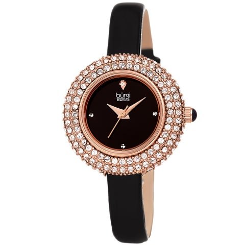 Burgi Ladies Rose-tone Diamond Swarovski Crystal Luxury Leather Strap Watch