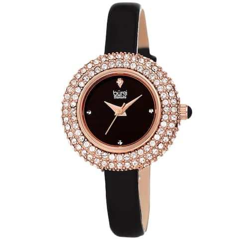 Burgi Ladies Diamond Swarovski Crystal Luxury Leather Strap Watch