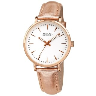 August Steiner Ladies Classic Quartz Rose Leather Strap Watch
