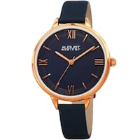 August Steiner Ladies Quartz Blue Leather Thin Strap