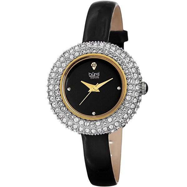 Burgi Ladies Diamond Swarovski Crystal Black Luxury Leather Strap Watch with FREE Bangle