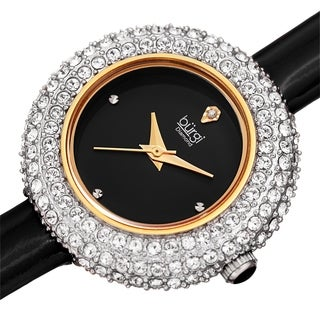 Burgi Ladies Diamond Swarovski Crystal Black Luxury Leather Strap Watch with FREE Bangle