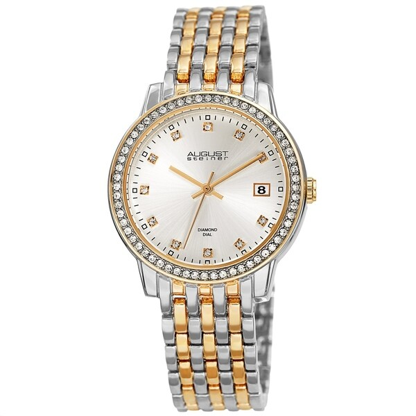 August Steiner Ladies Sparkling Diamond Crystal Two-tone Bracelet Watch with FREE Bangle