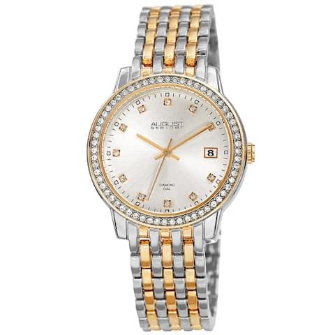 a91ab50bab0f August Steiner Ladies Sparkling Diamond Crystal Two-tone Bracelet Watch