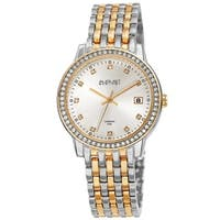 August Steiner Ladies Sparkling Diamond Crystal Two-tone Bracelet Watch