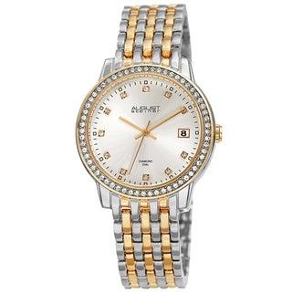 August Steiner Ladies Sparkling Diamond Crystal Two-tone Bracelet Watch with Watch Box