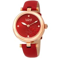 Burgi Ladies Diamond Floral Barbell Red Leather Strap Watch
