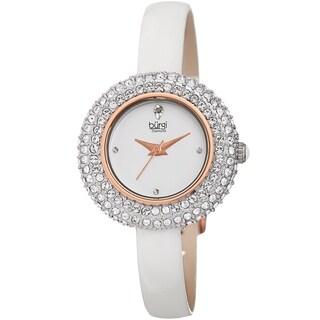 Burgi Ladies Diamond Swarovski Crystal Luxury White Leather Strap Watch
