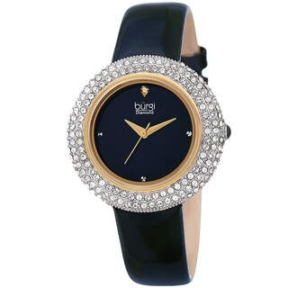 Link to Burgi Ladies Diamond Swarovski Crystal Sparkling Blue Leather Strap Watch Similar Items in Women's Watches