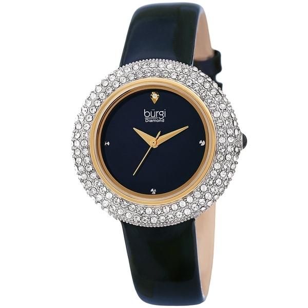 Burgi Ladies Diamond Swarovski Crystal Sparkling Blue Leather Strap Watch. Opens flyout.