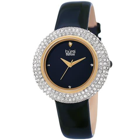 Burgi Ladies Diamond Swarovski Crystal Sparkling Blue Leather Strap Watch