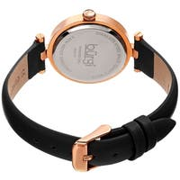 Burgi Ladies Diamond Floral Barbell Black Leather Strap Watch