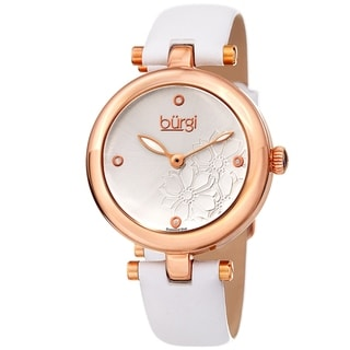 Burgi Ladies Diamond Floral Barbell White Leather Strap Watch